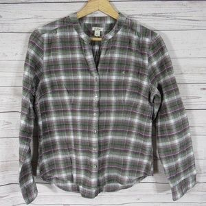 LL Bean Shirt Top Blouse Womens Petite Small PS